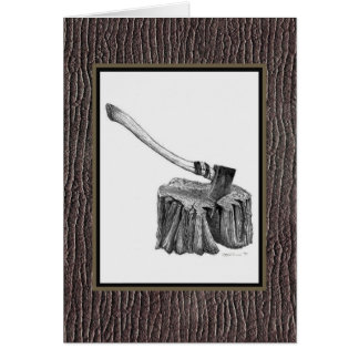 Axe and Stump Notecard Greeting Cards