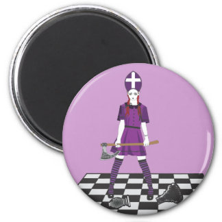 Axe Girl 2 Inch Round Magnet