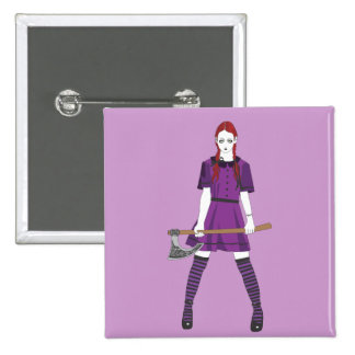 Axe Girl Pinback Button