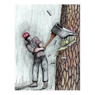 Axe Man no stihl chainsaw Postcard
