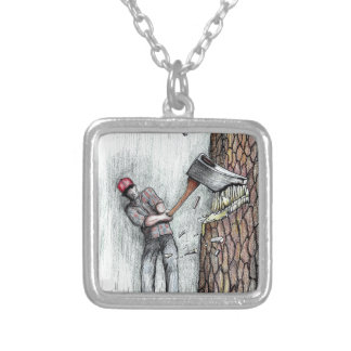 Axe Man no stihl chainsaw Silver Plated Necklace