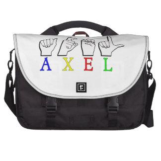 AXEL  FINGERSPELLED ASL SIGN NAME MALE LAPTOP MESSENGER BAG