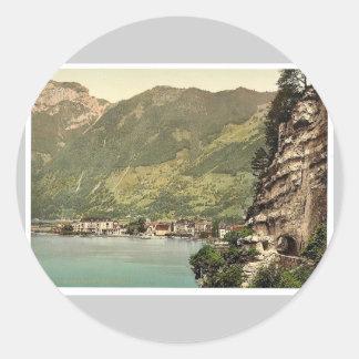 Axenstrasse and Brunnen Lake Lucerne Switzerlan Round Stickers
