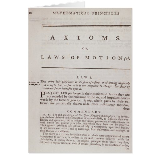 Axioms, or Laws of Motion, from Volume I Card