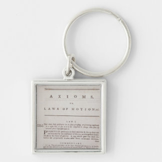 Axioms, or Laws of Motion, from Volume I Silver-Colored Square Keychain