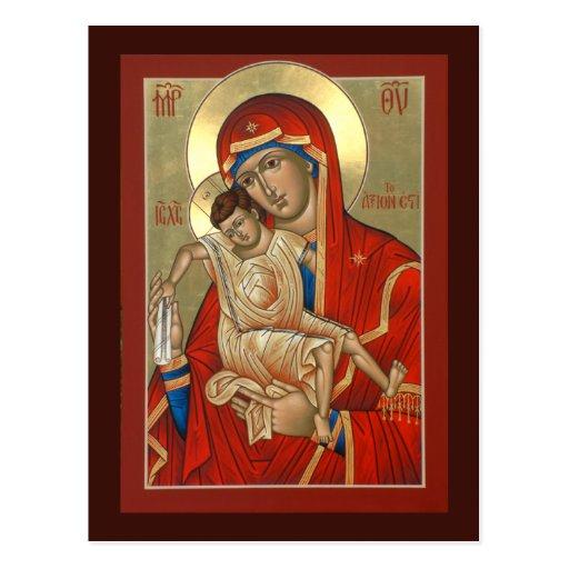 Axion Esti Mother of God Prayer Card Postcards