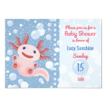 Axolotl and the Bubbles - Blue Water Baby Shower Invitation
