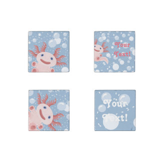Axolotl and the Bubbles Bold Vector Design Stone Magnet