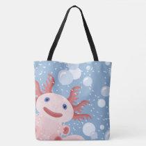 Axolotl and the Bubbles Bold Vector Design Tote Bag