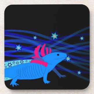 Axolotl blue with stars drink coaster