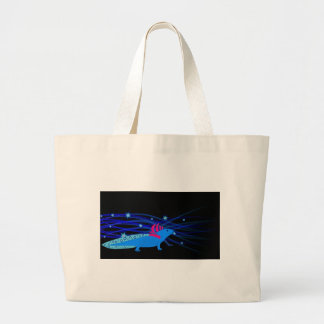 Axolotl blue with stars large tote bag