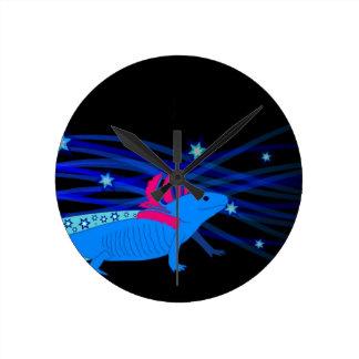 Axolotl blue with stars round clock
