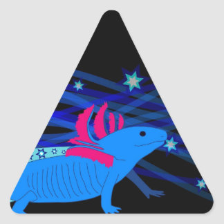 Axolotl blue with stars triangle sticker