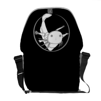 Axolotl circle bag (white on black) courier bag