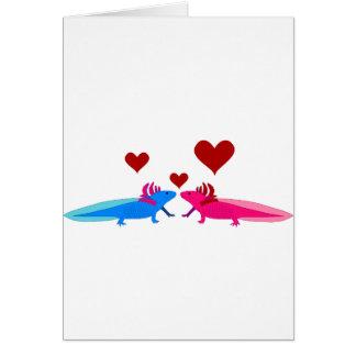 Axolotl en Love Tarjeta