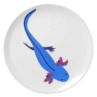 Axolotl from above blue melamine plate