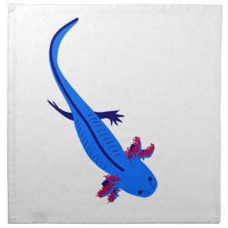 Axolotl from above blue napkin