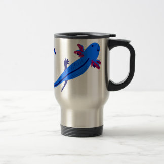 Axolotl from above blue travel mug