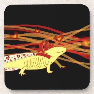 Axolotl gold Albino on black Beverage Coaster