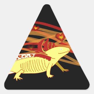 Axolotl gold Albino on black Triangle Sticker