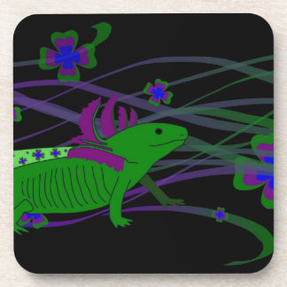 Axolotl green in the luck on black beverage coasters
