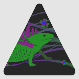 Axolotl green in the luck on black triangle sticker