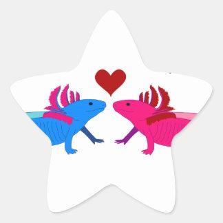 Axolotl in Love Star Stickers