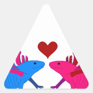 Axolotl in Love Triangle Sticker