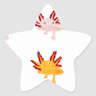 Axolotl modelo pegatina en forma de estrella