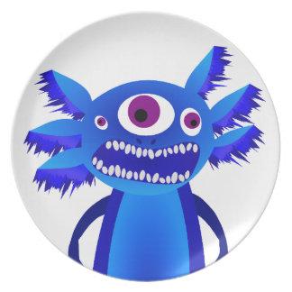 Axolotl monster Blue Melamine Plate
