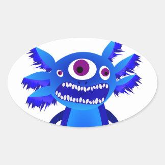 Axolotl monster Blue Oval Sticker
