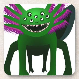 Axolotl monster Green Drink Coaster