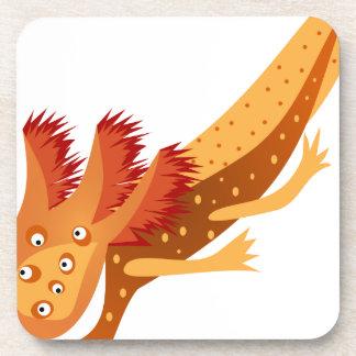 Axolotl monster orange beverage coasters