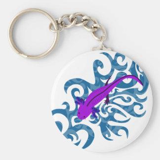 Axolotl of purple in the water keychain