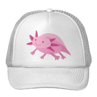 Axolotl rosado lindo del albino gorras de camionero