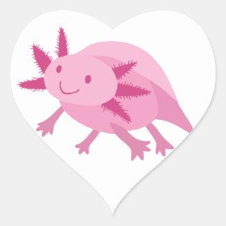 Axolotl rosado lindo del albino pegatinas de corazon