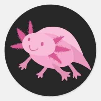 Axolotl rosado lindo del albino pegatinas redondas