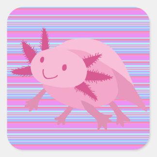 Axolotl rosado lindo del albino pegatina cuadradas