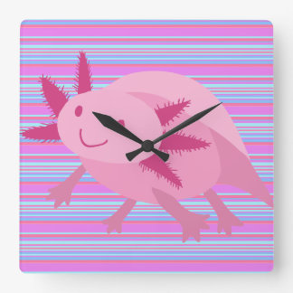 Axolotl rosado lindo del albino reloj de pared