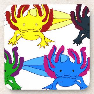 Axolotl sample frontal drink coasters