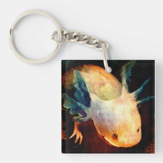 Axolotl Sun Double-Sided Square Acrylic Keychain