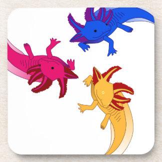 Axolotl trio drink coasters