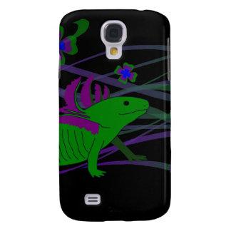 Axolotl verde en la suerte en negras samsung galaxy s4 cover