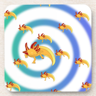 Axolotl vortex blue beverage coasters