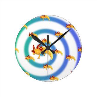 Axolotl vortex blue round clock