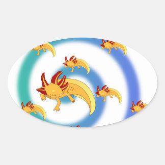 Axolotl vortex blue oval stickers