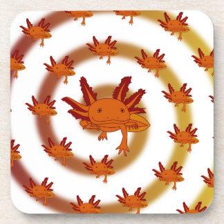 Axolotl vortex orange beverage coasters