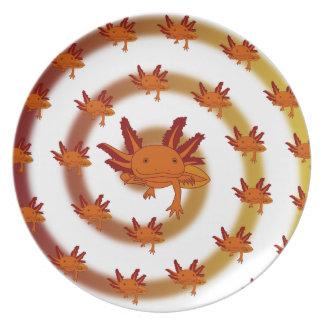 Axolotl vortex orange melamine plate