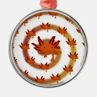 Axolotl vortex orange metal ornament