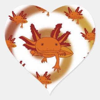 Axolotl vortex orange heart stickers